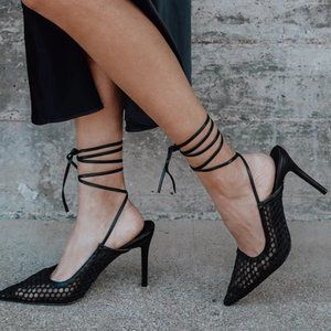 Lulu's Black Woven Pointed-Toe Lace-Up Pumps